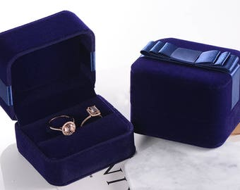 Ring Box Upgrade - Blue Velvet Jewelry Box Engagement Anniversary Ring Holder Proposal Bow Butterfly Wedding Ring Set Case - Sapphire