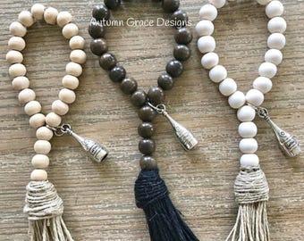 Set of 3 wine charms/napkin rings/wood bead wine charms