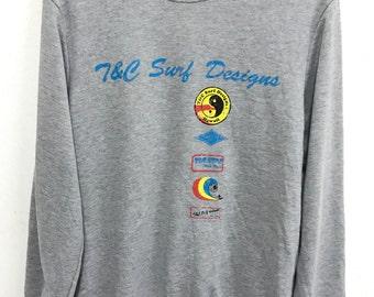 T&C Surf Sweatshirt Vintage tnc surf sweaters surfing sweaters jacket go surf surfur surfing shirt sz 160