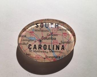 Map Magnet, South Carolina, South Carolina Magnet, Vintage Map Magnet, Handmade Magnet, Columbia South Carolina