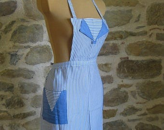 Blue and white striped bib apron from France
