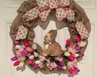 Rustic Spring wreath, rustic easter wreath, spring wreath, easter wreath, Burlap spring wreath