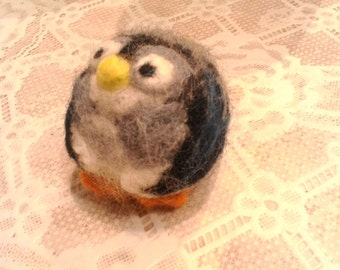 Needle felted penguin ball