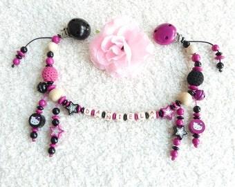 Stroller chain Hello Kitty black pink