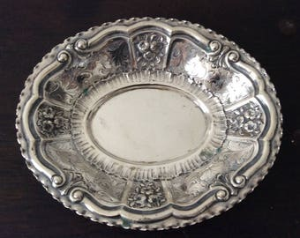 Large German Solid Silver Tray / 800 Silver / Continental / Bon Bon Dish / Nut & Candy Tray / Repousse / Chased
