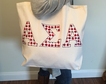 Custom Greek Letter Sorority Tote Bag Recycled Eco-Friendly