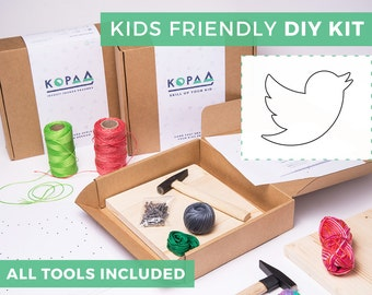 Kids friendly DIY BIRD string art kit, kids craft kit, all tools included, cool gift for kids