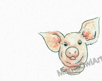 Watercolour Ink Pig Painting. Reproduction Prints of Original.