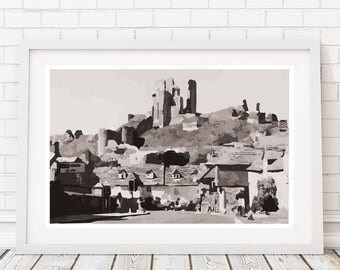 Corfe Castle, Dorset, Corfe Castle Print, Dorset Art, A6, A5, A4 or A3 Print, Giclee, Modern Art, Limited Edition. FREE DELIVERY