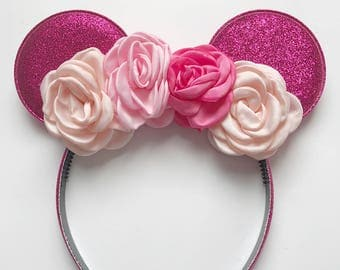 Minnie Mouse Ears, Minnie Mouse Headband, Pink Minnie Mouse Ears, Minnie Mouse Flower,