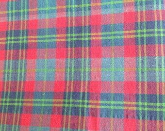 cotton plaid fabric, plaid material, 4 yds, red , shirt material
