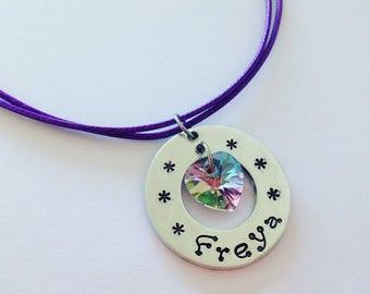 Personalised Swarovski Heart Stamped Necklace