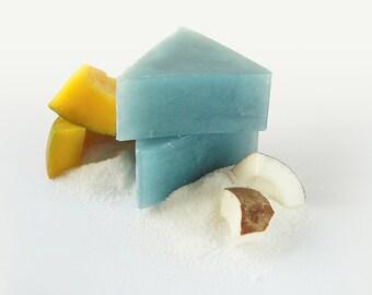 Tropical soap, handmade soap, luxury soap,  SLS/SLES free, blue soap, soap with sea salt, moisturising soap, natural soap, coconut soap