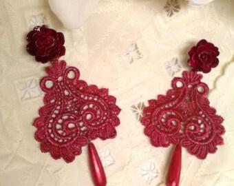 Flamenco earrings. Godmother earrings. Guest earrings. Bridesmaid. Party earrings. Valentine's Day gift.