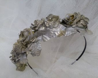 Vintage headband, silver flowers, bridal headband, bridal accessory, bridesmaid, guest headband, hair Party, vintage hair
