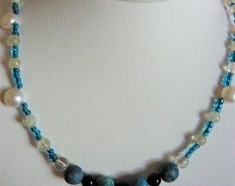 Cultured freshwater button pearl necklace