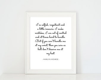 Wall Print, Printable Quote, Minimalist Art, Black & White Print, Printable Poster, Wall Decor, Celebrity Quote, Marilyn Monroe Quote | B15