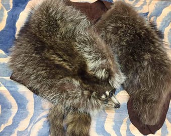 Vintage raccoon fur stole from the 1940's or earlier.