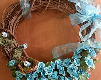 Teal mini roses birds door wreath