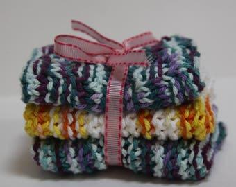 Knit Dish Cloths, Blue Multi/Yellow Multi