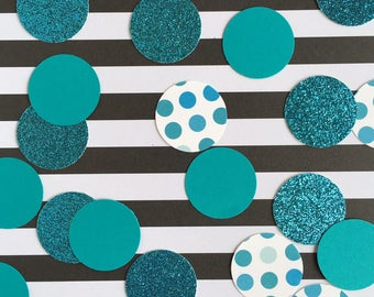 Turquoise Polka Dot Confetti - Turquoise Glitter - Teal - Birthday Party - Baby Shower - Bridal Shower - 150 Pieces
