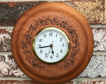 Hand turned, wood burned, flower wall clock