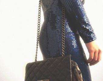 Small cross body fur purse/ vintage