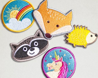 Iron on Patches - PICK 3 or MORE & SAVE - Embroidered Patch - Cute Patches - Patches Pack - Unicorn - Rainbow - Fox - Raccoon - Hedgehog