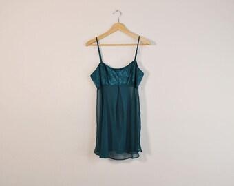 90s Babydoll Slip, Teal Slip Dress, Sheer 90s Babydoll, Chiffon Slip, Vintage Lingerie, Vintage Negligee, Victoria's Secret Intimates