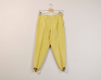 High Waist Trousers, 90s Yellow Stirrup Pants, Vintage Casual Trousers, Minimalist Pants, Tapered Trousers, Womens Pants Size 10