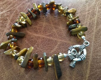 Tiger eye and glass bead bracelet