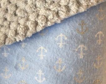 Baby blue anchor blanket,