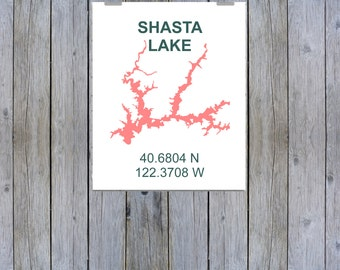 Shasta Lake Coordinate Print