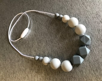 Grey marble silicone bead necklace #2