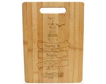 Laser Engraved Cutting Board - 028 - Lighthouse with names and date