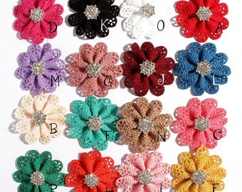 Newborn Hollow Out Flowers With Rhinestone Button For Hair Accessories DIY Fabric Flowers For Headbands Flower Supplies 5.5cm