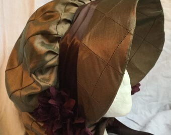 Brown/Gold  Regency Bonnet