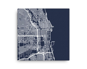 Minimalist Map of Chicago Roads - Canvas Print - 16x16
