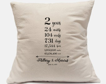 Second Wedding Anniversary Gift Personalized Pillow Case 100% Cotton Canvas Customize with your information 14x14 and 18x18