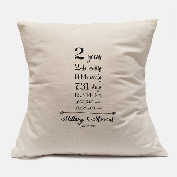 2nd Year Wedding Anniversary Unique Gift Custom Pillow Cover 100% ...