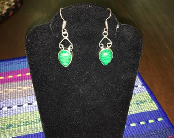 Malachite upside down teardrop upside down heart dangle silver earrings