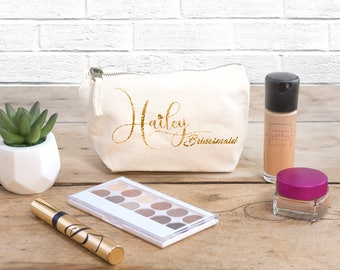 Personalised Makeup & Cosmetic Bag (First Name + Wedding Position) -The Perfect Wedding Thank You Gift for your Bridesmaids and Bridal Party