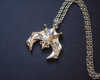 Silver tone bat goth necklace