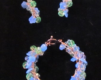 Crochet wire and bead bracelet an earings