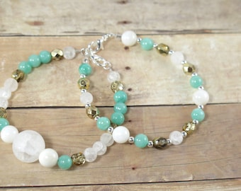 Teal, white and golden beaded bracelet set / teal / white / golden / lobster clasp / gift / lifestyle jewelry