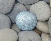 Mandala Stone, Meditation Mandala Rock - Blue & Silver