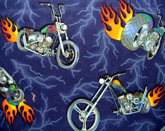 Motorcycle Fabric Choppers Flames Lightning Cotton By The Yard 36 Inches Long