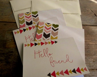 Hello, Friend Greeting cards Set of 4 greeting cards Hello cards Just Because blank cards