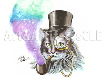 Distinguished Gentleman Cat with Top Hat and Monocle Watercolor Print