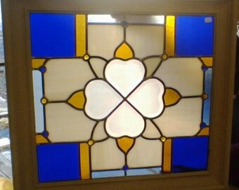 Stained Glass Heart Bevel Cluster, Cobalt, Amber with glass nuggets framed panel